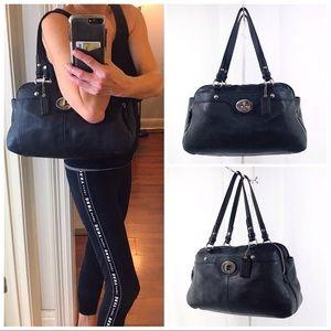 Coach Penelope Black Pebble Leather  Shoulder Bag